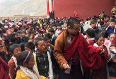 Khenpo with children at surmang shedra thumb